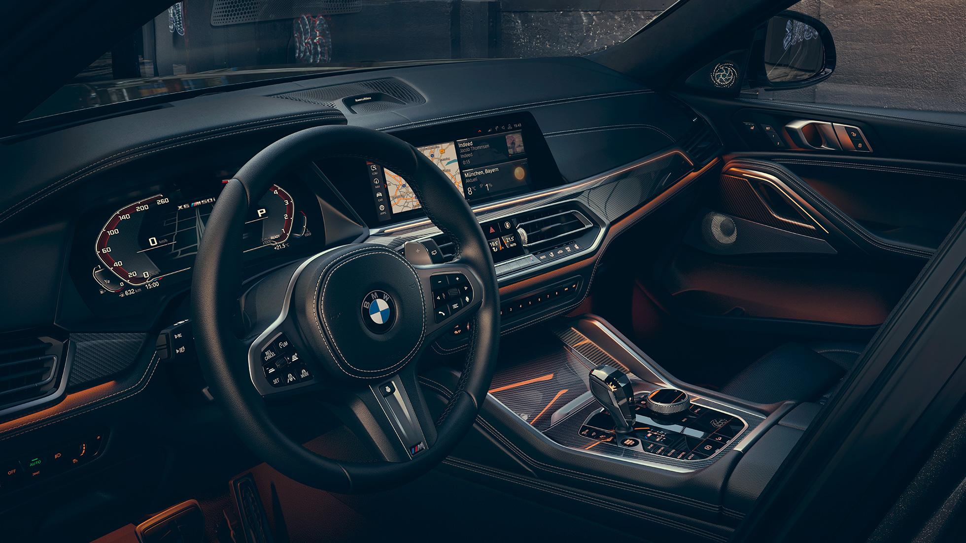 """Imagine cu habitaclul BMW X6 cu ecrane de 12,3""""."""