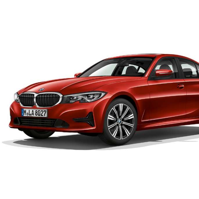 Imagine din lateral cu BMW Seria 3 Sedan model Advantage staţionând.